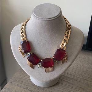 JCrew Red Gemstone Gold Necklace